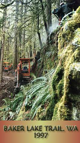 Trail construction in vertical rock.