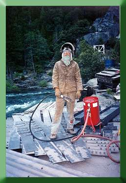 Carroll Vogel in sandblasting garb.