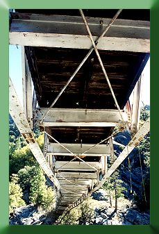View of truss from below bridge after stabilization work.