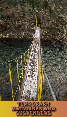 View of stabilized bridge from the tower top.  Note pinch at chord buckles near midspan.