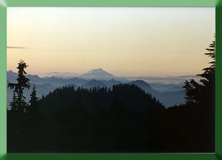 The view south from base camp, Glacier Peak in the distance.